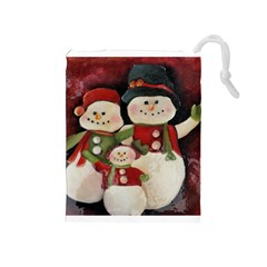 Snowman Family No. 2 Drawstring Pouches (Medium)
