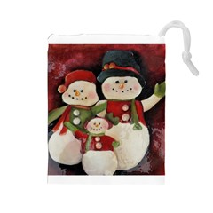 Snowman Family No. 2 Drawstring Pouches (Large)