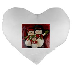 Snowman Family No. 2 Large 19  Premium Flano Heart Shape Cushions