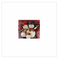 Snowman Family No. 2 Large Satin Scarf (Square)