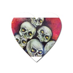 Halloween Skulls No 1 Heart Magnet by timelessartoncanvas