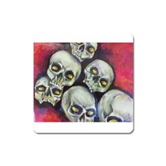 Halloween Skulls No 1 Square Magnet by timelessartoncanvas