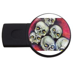 Halloween Skulls No 1 Usb Flash Drive Round (4 Gb)  by timelessartoncanvas