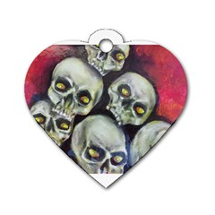 Halloween Skulls No 1 Dog Tag Heart (one Side) by timelessartoncanvas