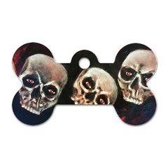 Halloween Skulls No  2 Dog Tag Bone (one Side) by timelessartoncanvas