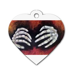 Halloween Bones Dog Tag Heart (one Side) by timelessartoncanvas