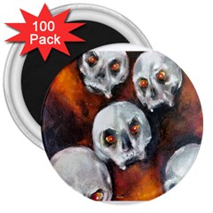 Halloween Skulls No  4 3  Magnets (100 Pack) by timelessartoncanvas
