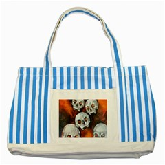 Halloween Skulls No  4 Striped Blue Tote Bag  by timelessartoncanvas