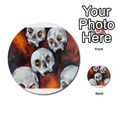 Halloween Skulls No  4 Multi Purpose Cards (round)  by timelessartoncanvas