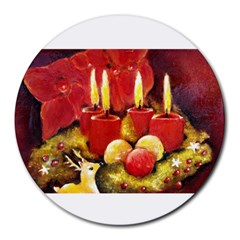 Holiday Candles  Round Mousepads by timelessartoncanvas