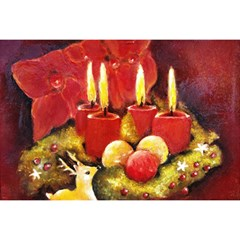 Holiday Candles  Birthday Cake 3d Greeting Card (7x5)  by timelessartoncanvas