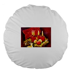 Holiday Candles  Large 18  Premium Round Cushions by timelessartoncanvas