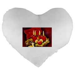 Holiday Candles  Large 19  Premium Heart Shape Cushions by timelessartoncanvas