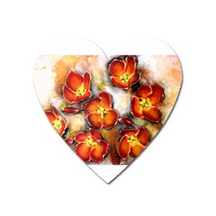 Fall Flowers Heart Magnet