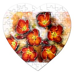 Fall Flowers Jigsaw Puzzle (heart) by timelessartoncanvas