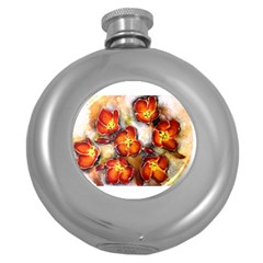 Fall Flowers Round Hip Flask (5 Oz) by timelessartoncanvas
