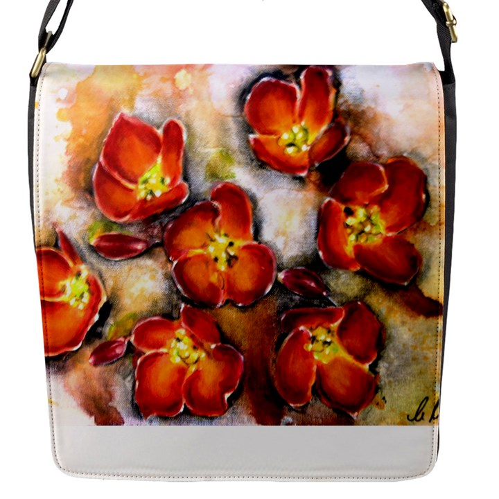 Fall Flowers Flap Messenger Bag (S)