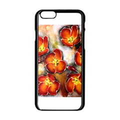 Fall Flowers Apple Iphone 6 Black Enamel Case