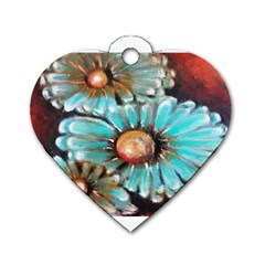 Fall Flowers No  2 Dog Tag Heart (two Sides) by timelessartoncanvas