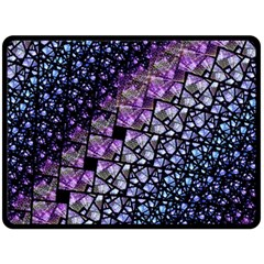 Dusk Blue And Purple Fractal Double Sided Fleece Blanket (large) by KirstenStar