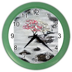 Mountains, Trees And Fog Color Wall Clocks