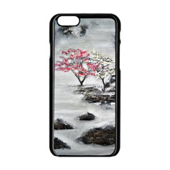Mountains, Trees And Fog Apple Iphone 6 Black Enamel Case by timelessartoncanvas