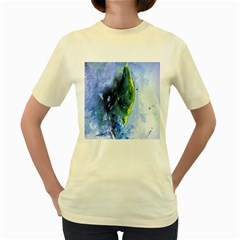 Bright Yellow And Blue Abstract Women s Yellow T-shirt by timelessartoncanvas