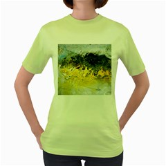Bright Yellow Abstract Women s Green T Shirt by timelessartoncanvas