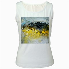Bright Yellow Abstract Women s Tank Tops