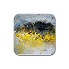 Bright Yellow Abstract Rubber Coaster (square)  by timelessartoncanvas