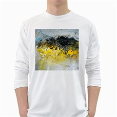 Bright Yellow Abstract White Long Sleeve T Shirts by timelessartoncanvas