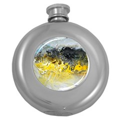 Bright Yellow Abstract Round Hip Flask (5 Oz)