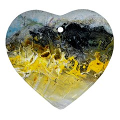 Bright Yellow Abstract Heart Ornament (2 Sides)