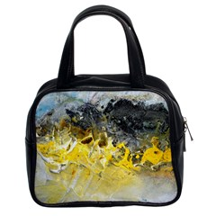 Bright Yellow Abstract Classic Handbags (2 Sides) by timelessartoncanvas