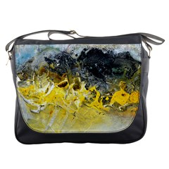 Bright Yellow Abstract Messenger Bags by timelessartoncanvas