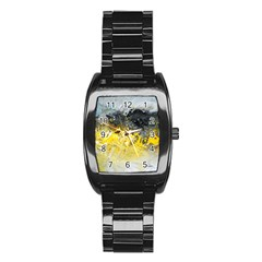 Bright Yellow Abstract Stainless Steel Barrel Watch