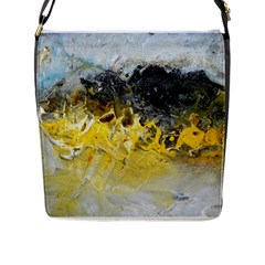 Bright Yellow Abstract Flap Messenger Bag (l)  by timelessartoncanvas