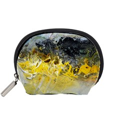 Bright Yellow Abstract Accessory Pouches (small)