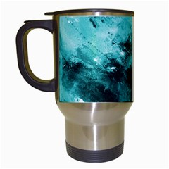 Turquoise Abstract Travel Mugs (white) by timelessartoncanvas