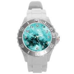 Turquoise Abstract Round Plastic Sport Watch (l) by timelessartoncanvas