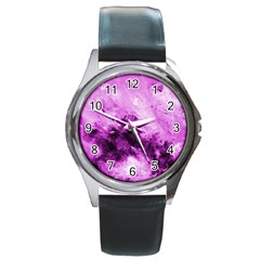 Bright Pink Abstract Round Metal Watches by timelessartoncanvas