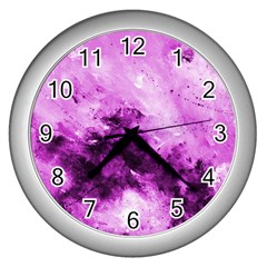 Bright Pink Abstract Wall Clocks (silver)  by timelessartoncanvas
