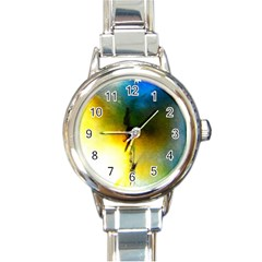 Watercolor Abstract Round Italian Charm Watches