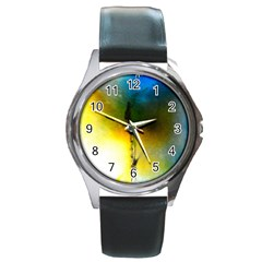 Watercolor Abstract Round Metal Watches