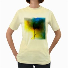 Watercolor Abstract Women s Yellow T-Shirt