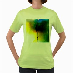 Watercolor Abstract Women s Green T-Shirt