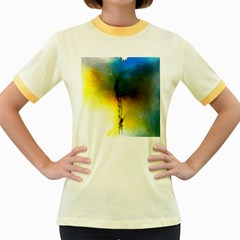 Watercolor Abstract Women s Fitted Ringer T-Shirts