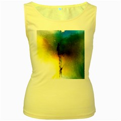 Watercolor Abstract Women s Yellow Tank Tops