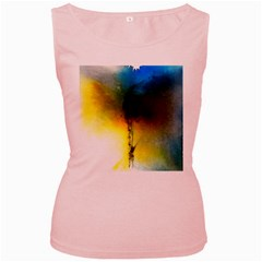 Watercolor Abstract Women s Pink Tank Tops