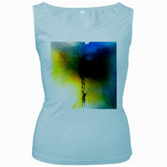 Watercolor Abstract Women s Baby Blue Tank Tops